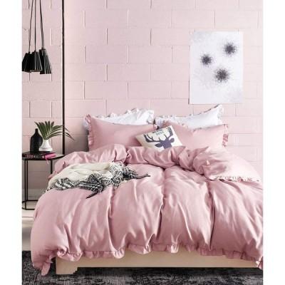 HOTNIU 布団カバー 3点セット シングル 掛け布団カバー かわいい フリル付き ベッドカバー 洋式・和式兼用 寝具カバーセット ピーチスキン加工