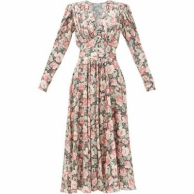 パコラバンヌ Paco Rabanne レディース ワンピース ワンピース・ドレス Gathered paisley and floral-print satin dress Pink