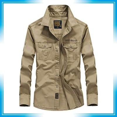 KASUNA ミリタリーシャツ メンズ 長袖 シャツ カジュアルシャツ 無地 ボタン付き オックスフォードシャツ コット