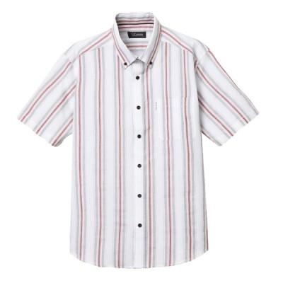 メンズ 【在庫限り】UPレノマ 部分パナマストライプ半袖シャツ ピンク M