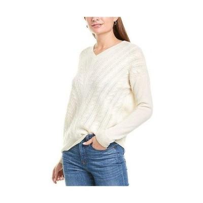 レディース ファッション  sofiacashmere Cable V-Neck Cashmere Sweater