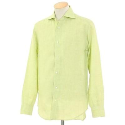 ダノリス DANOLIS リネン カジュアルシャツ ライトグリーン×ホワイト S