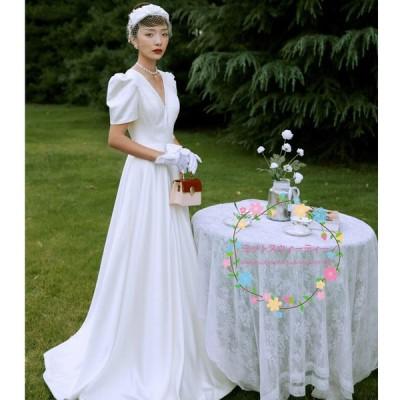 ウェディングドレス エンパイアライン 袖あり 白 ワンピース 結婚式 二次会 挙式 披露宴 前撮り 後撮り ビーチフォト 二次会ドレス 花嫁ドレス カジュアル