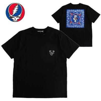 Grateful Dead グレイトフル・デッド ポケット付半袖Tシャツ メンズ レディース ダンシングベア デッドベア キャラクター 刺繍