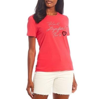 カールラガーフェルド レディース Tシャツ トップス Signature Sequin Script Logo Patch Short Sleeve Tee Summer Berry