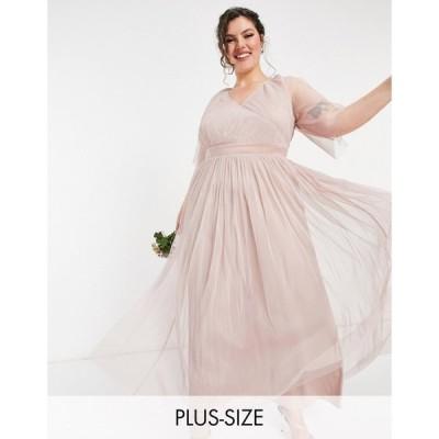 アナヤ プラス Anaya Plus レディース パーティードレス マキシ丈 Anaya With Love Plus Bridesmaid Tulle Flutter Sleeve Maxi Dress In Pink ピンク