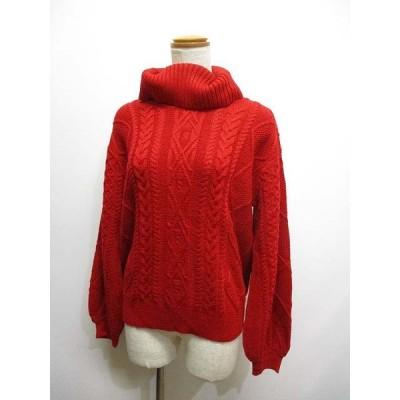 【中古】エニィファム anyFam タートルネック ケーブル ニット セーター 2 赤 ボリューム袖 レディース 【ベクトル 古着】