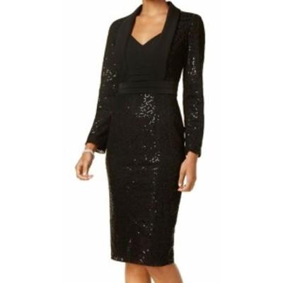 ファッション ドレス SLNY NEW Black Womens Size 8 Sequined Lace Tuxedo Sheath Dress