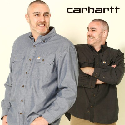 長袖 シャツ 大きいサイズ メンズ 綿100% ポケット付き ボタンダウン シンプル 1XL 2XL 3XL 4XL Carhartt カーハート