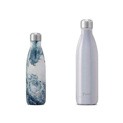 S'well Stainess Steel Water Bottle set Blue Granite 17oz and Milky Way 25oz