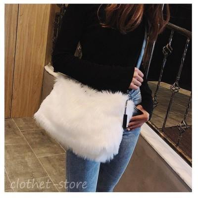 ファーバッグ ハンドバッグ レディース 鞄 かわいい 無地 シンプル おしゃれ お出かけ 黒色 白色