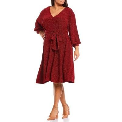 カルバンクライン レディース ワンピース トップス Plus Size Belted Long Balloon Sleeve Glitter Knit Metallic A-line Dress Red Black