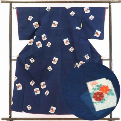 リサイクル着物 紬 正絹紺地花柄先染袷紬着物未使用品