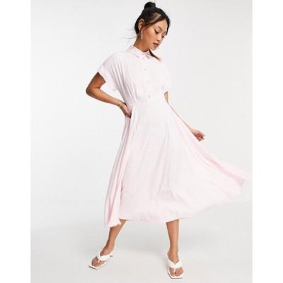 クローゼットロンドン Closet London レディース ワンピース ミドル丈 ワンピース・ドレス short fold sleeve shirt midi dress with crystal buttons in pink