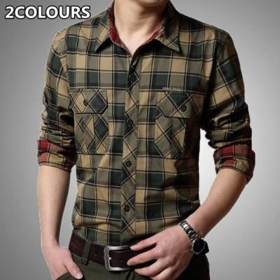 長袖シャツチェック柄ワイシャツメンズトップス上着綿カジュアルアメカジミリタリー