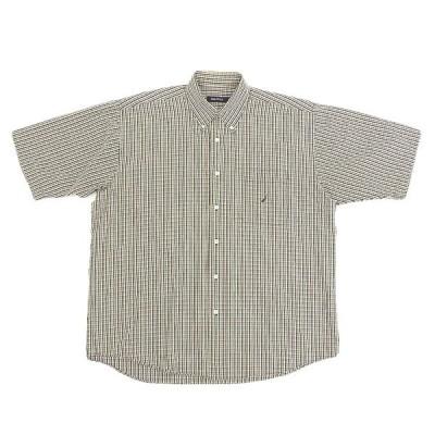 美品 ノーティカ NAUTICA コットン チェック柄 半袖 シャツ メンズ ベージュ系 sizeL A04041