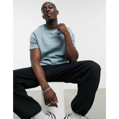 エイソス メンズ シャツ トップス ASOS DESIGN short sleeve sweatshirt in blue gray Lead