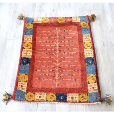 ギャッベ イラン製 カシュカイ族の手織り84x63cm 玄関マットサイズ カラフル レッド 生命の樹