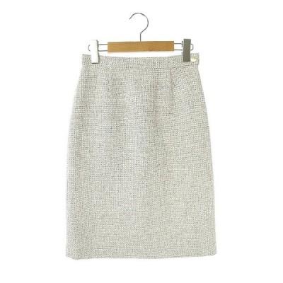【中古】トゥモローランド TOMORROWLAND ツイードタイトスカート 膝丈 32 白 グレー /AA ■OS レディース 【ベクトル 古着】