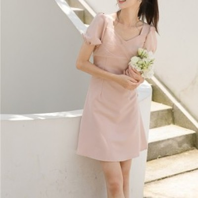 ワンピース ドレス パーティードレス パーティーワンピース きれいめワンピ ピンク チュールカシュクール 半袖 パフスリーブ ピンク