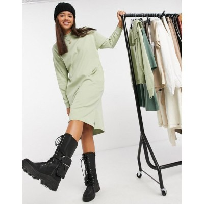モンキ レディース ワンピース トップス Monki Mindy organic cotton midi sweater dress in green Green