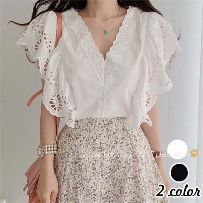 レディースブラウス40代きれいめ上品春夏白シャツレース花刺繍ブラウスゆったり半袖韓国風オシャレ30代大人