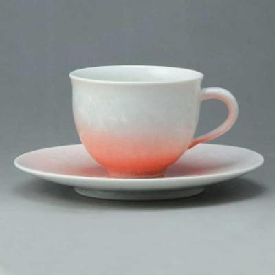 【送料無料】 京焼 清水焼 珈琲碗皿 花結晶(白赤) はなけっしょう(しろあか)