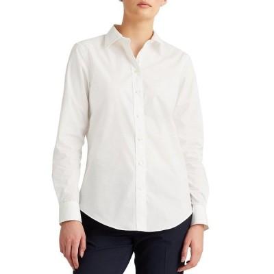ラルフローレン レディース シャツ トップス Easy Care Long Sleeve Cotton-Blend Shirt White