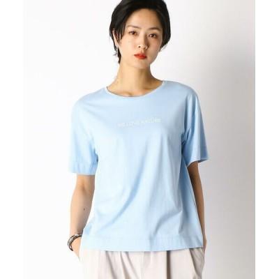 COMME CA/コムサ 〔Sサイズ〕メッセージプリント Tシャツ ブルー 5号