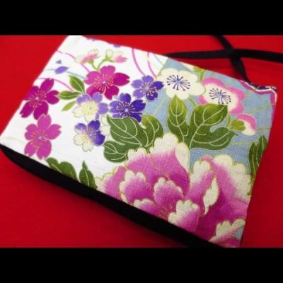 金彩牡丹と桜 (白ピンク紫)  和柄お祭り万能ポシェットショルダー