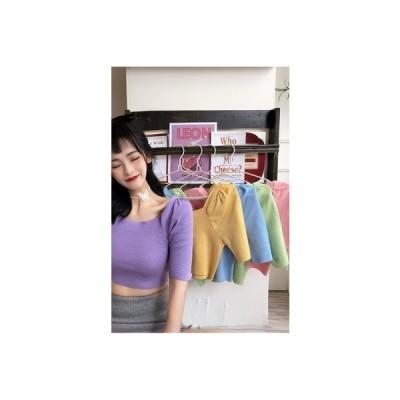 【送料無料】ニッティング 女 夏 気質 ファッション 大 襟 ハイウエスト 短いスタ | 364331_A63249-3519732