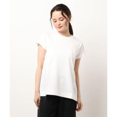 tシャツ Tシャツ 異素材切替タックフレアT