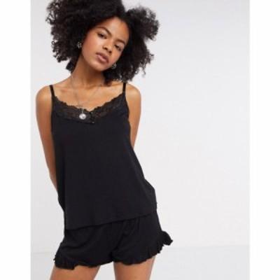 ヴィラ Vila レディース スリップ・キャミソール インナー・下着 lace trim pyjama cami top in black ブラック