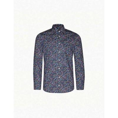 イートン ETON メンズ シャツ トップス Floral-print slim-fit cotton-poplin shirt Blue
