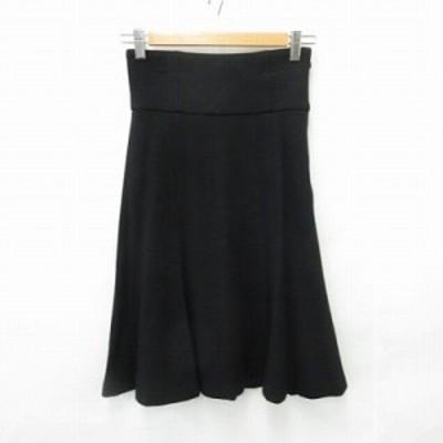 【中古】エムプルミエ M-Premier スカート フレアスカート ひざ丈 ウール 無地 黒 ブラック 36 レディース