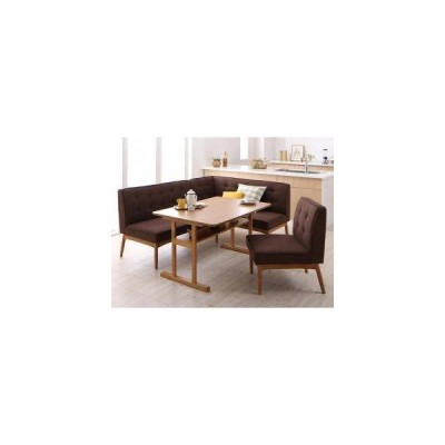 ダイニングテーブルセット 5人用 コーナーソファー L字 l型 ベンチ 椅子 4点 (机+ソファx1+右肘x1+チェア1) 幅120 デザイナーズ 2本脚 和モダン 低め 棚