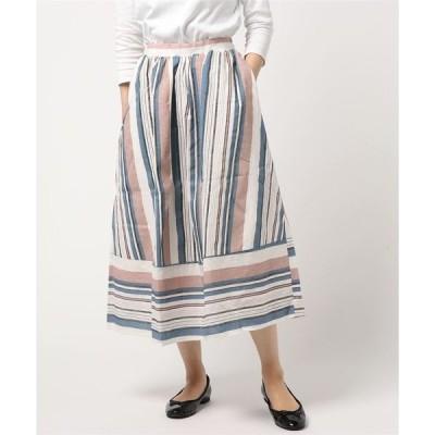 マルチストライプ ロングスカート
