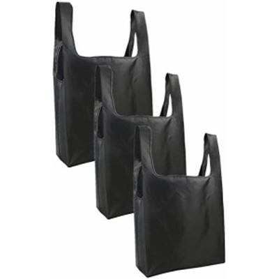 環境保護バッグ、便利なバッグ、折りたたみ可能な大容量3個セット (ブラック)