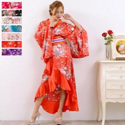 浴衣ドレス 和柄ドレス  Dress Angelo  花魁   ドレス キャバ 着物ドレス 帯付きゴールドパイピングフリル花魁着物ロングドレス 0367 よさこ