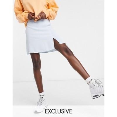 コルージョン レディース スカート ボトムス COLLUSION mini skirt with split in pale blue