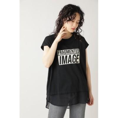 ROSE BUD / (OKIRAKU×ROSE BUD)フロッキープリントシフォンヘムTEE WOMEN トップス > Tシャツ/カットソー