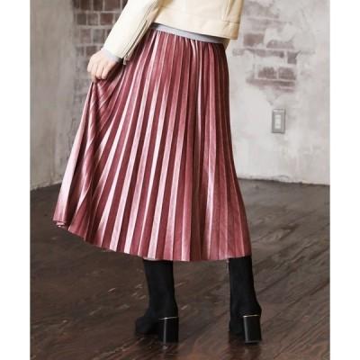 スカート ベルベットプリーツスカート