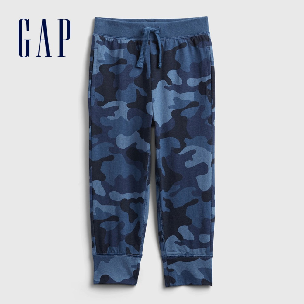 Gap 男幼童 布萊納系列 迷彩時尚休閒運動休閒褲 673732-藍色迷彩