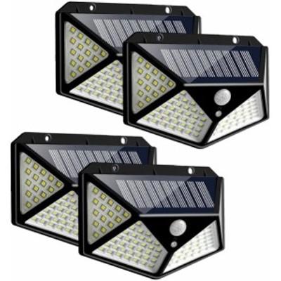 センサーライト 100LED ソーラーライト 4面発光 3つ知能モード 太陽光発電 Lifeholder 防水 人感センサー自動点灯 ガーデンライト 4点セ