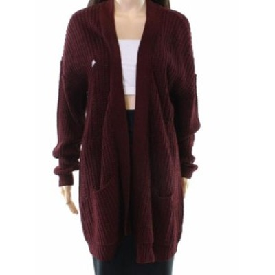 Red  ファッション トップス RDI NEW Red Distressed Ripped Womens Size XS Cardigan Knit Sweater