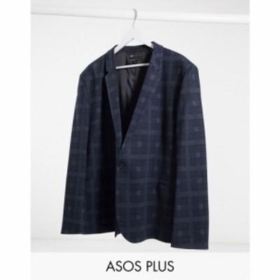 エイソス ASOS DESIGN メンズ スーツ・ジャケット アウター Plus Super Skinny Jersey Blazer In Navy Check ブラック