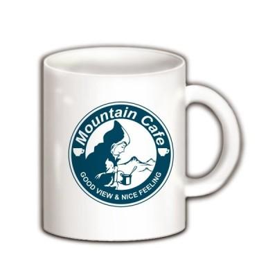 マウンテンカフェ(丸ロゴ青) マグカップ(ホワイト)