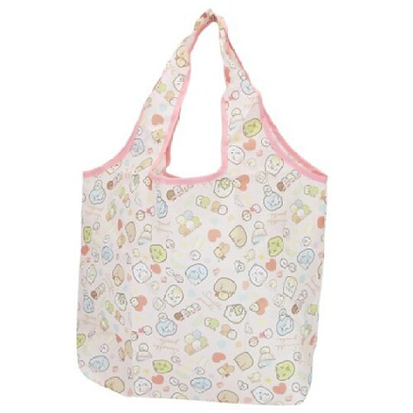 小禮堂 角落生物 折疊尼龍環保購物袋 環保袋 側背袋 (粉 玩偶) 4549204-36492