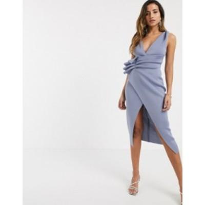 エイソス レディース ワンピース トップス ASOS DESIGN plunge tuck wrap midi dress in soft blue Soft blue