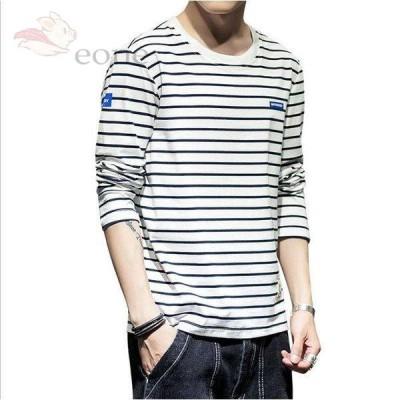 Tシャツ メンズ 長袖 ロゴT カットソー メンズ Tシャツ 大きいいサイズ クールネック インナー ストレッチ ゆったり 2020新作登場